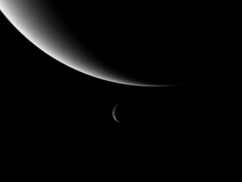 Neptune and Triton three days after Voyager's flyby