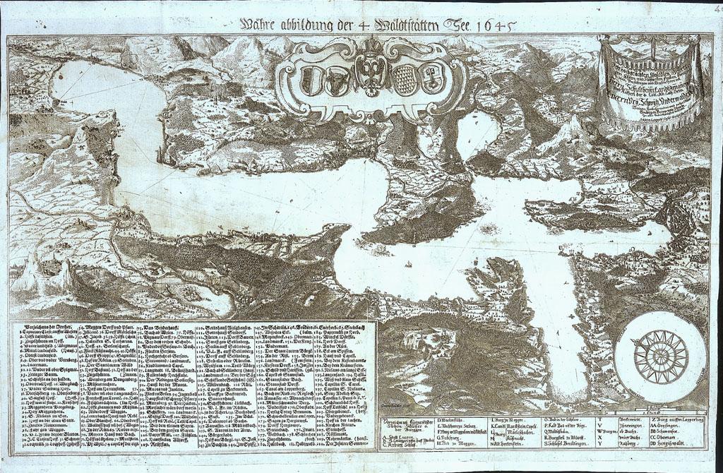 Vierwaldstätter See in einer Karte von 1645 - Quelle: Wikicommons