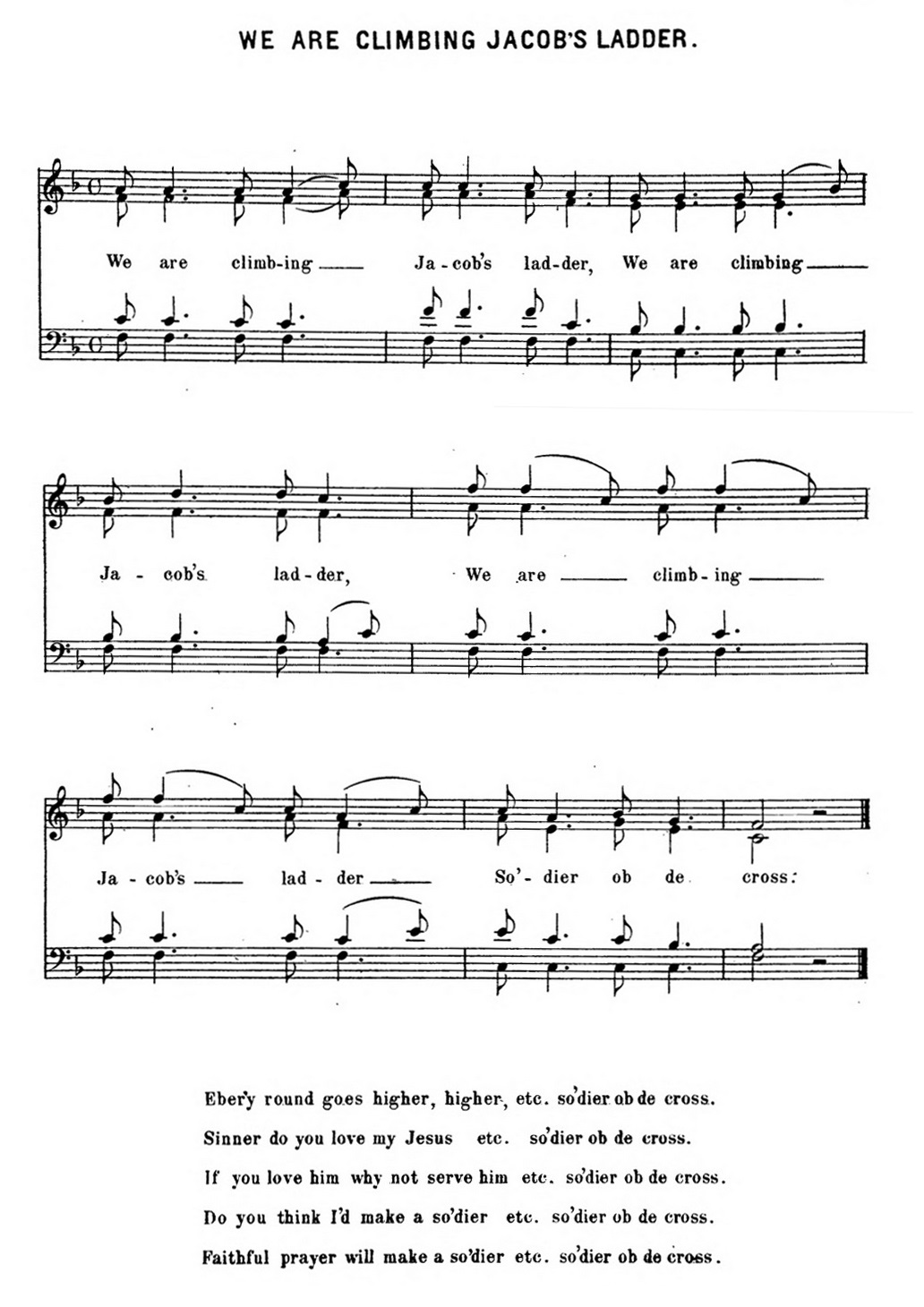 graphic about Free Printable Black Gospel Sheet Music named We Are Rising Jacobs Ladder - Wikipedia