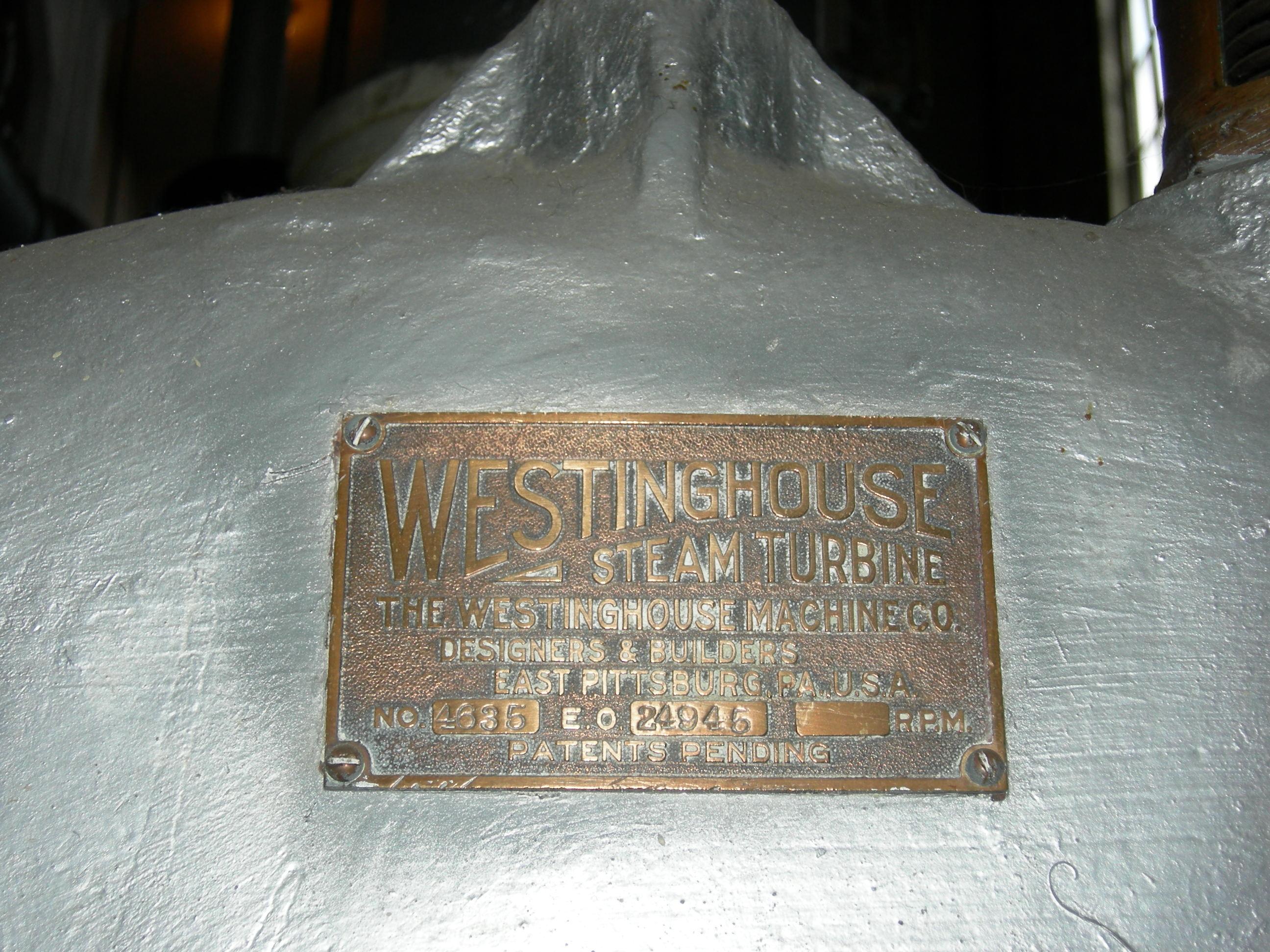 File Westinghouse steam turbine plaque 01 Wikimedia mons