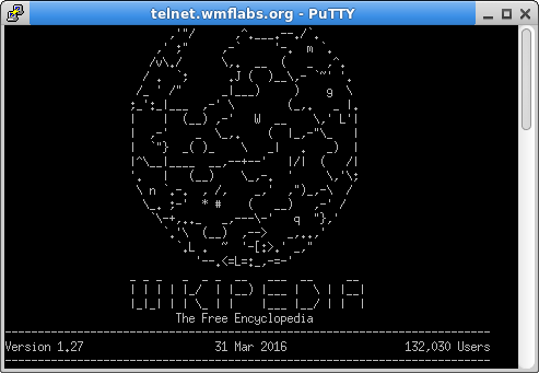 Screenshot of the Telnet banner text including ASCII art logo