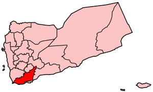 Map o Yemen showin Lahij govrenorate.