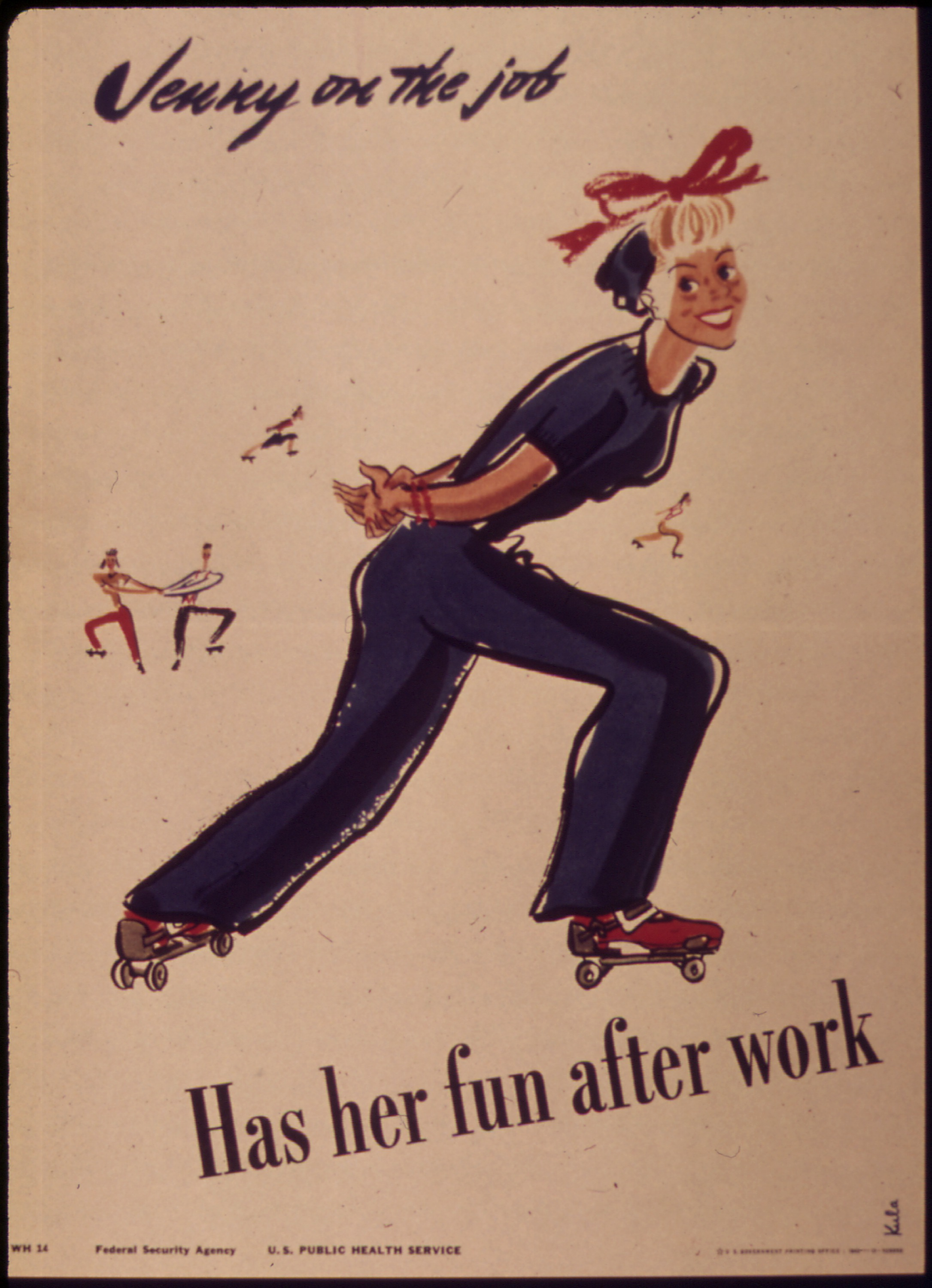 Vintage looking illustration of woman skating and the text: Jenny on the job. Has her fun after work.