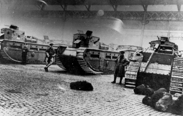 Tanks stored in the Glasgow Cattle Market ready for action in 1919.