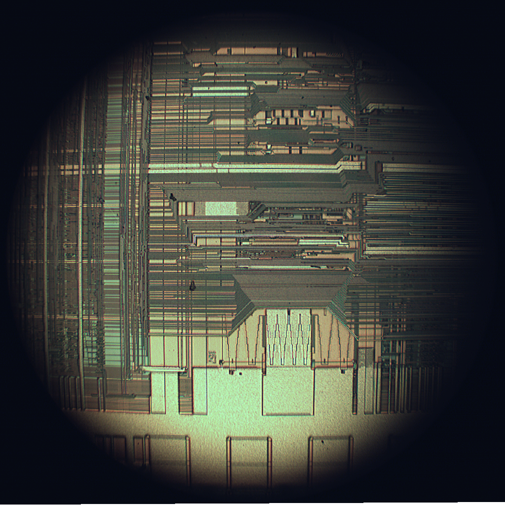 Upper interconnect layers on an Intel 80486DX2 microprocessor die