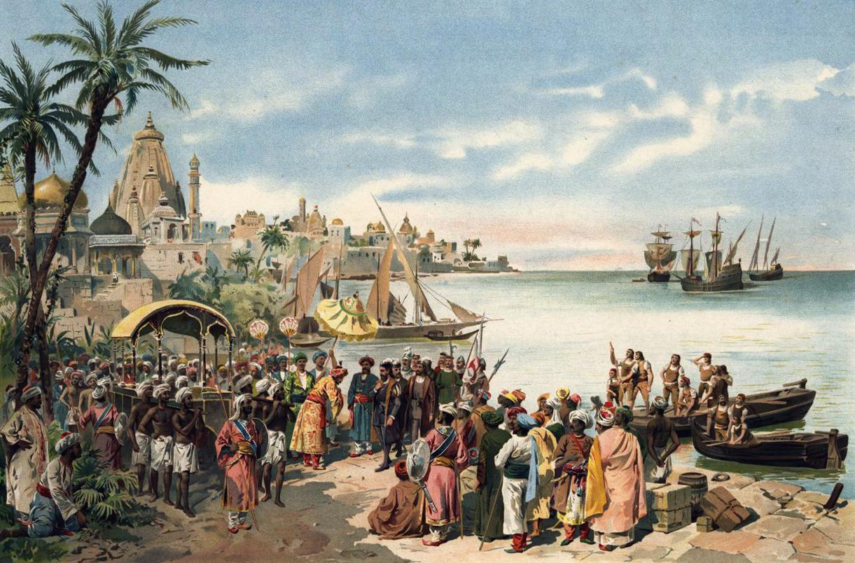 Vasco da Gama in India by Alfredo Roque Gamerio (1900)