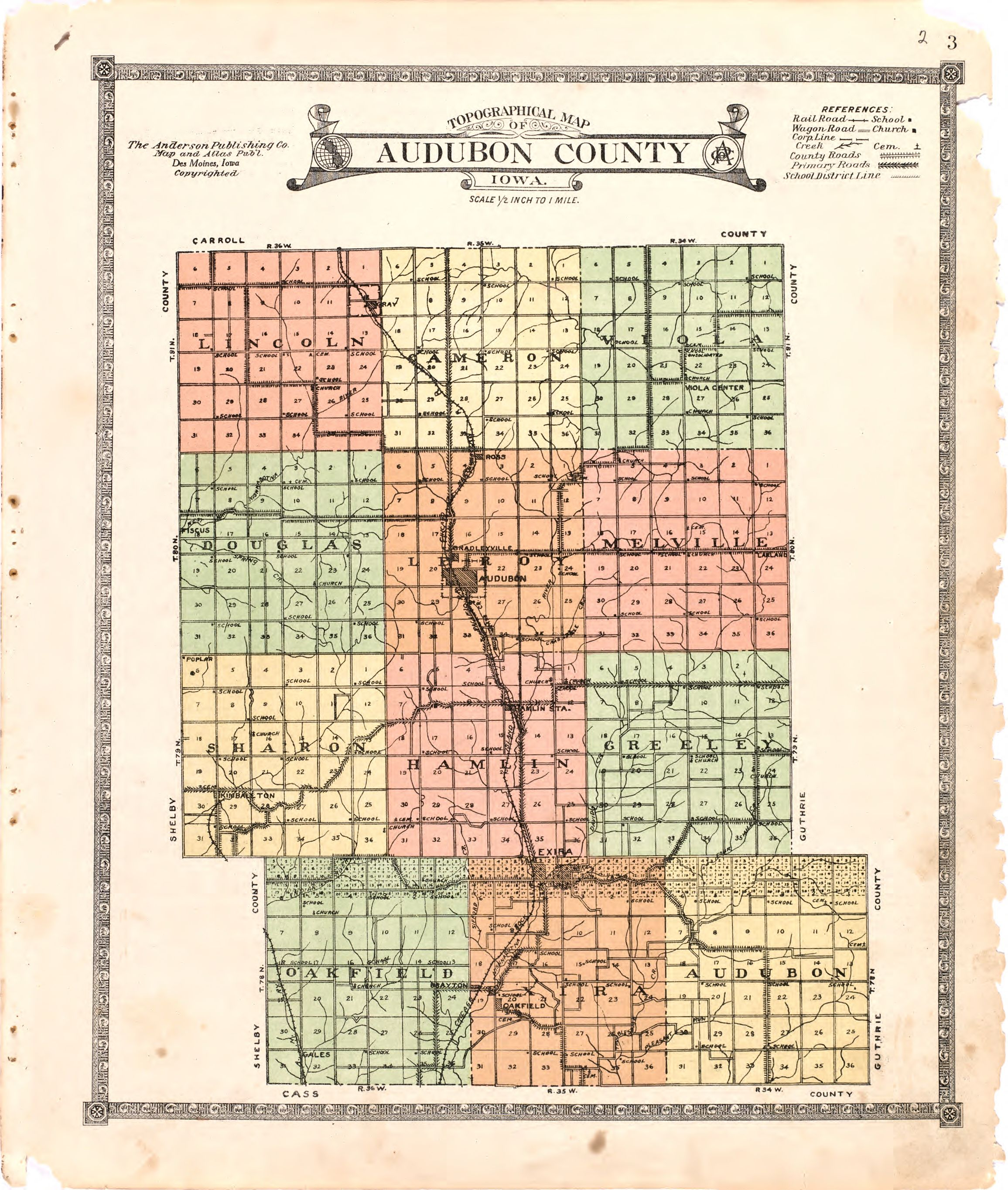 Audubon Iowa Map.File Atlas Of Audubon County Iowa Containing Maps Of Townships Of