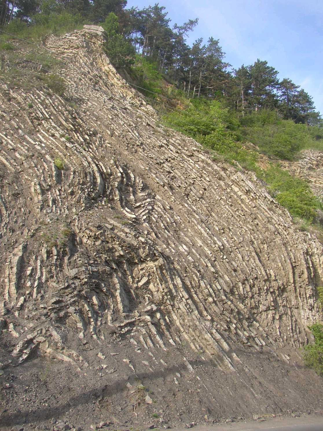 The rock formation where the layers of limestone are changing with the layers of slate