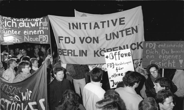 Демонстрация за возобновление FDJ в ноябре 1989 года