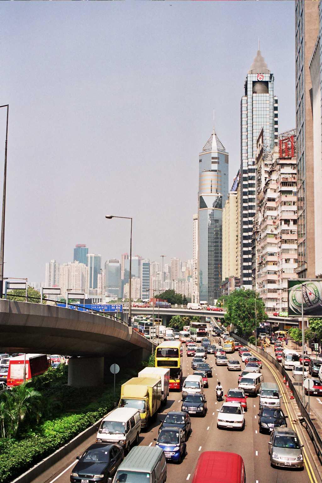 Calle en el distrito de Wan Chai.