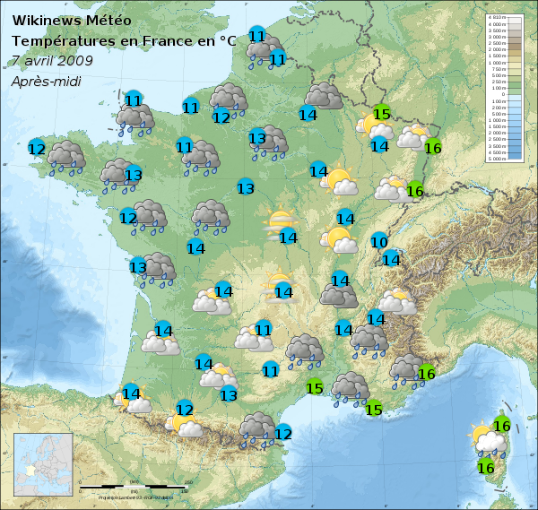 File carte m t o france 8 avril 2009 apr s wikimedia commons - Meteo a la carte france 3 ...