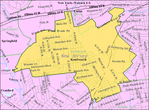 Census Bureau map of Kenilworth, New Jersey