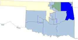 Map of Oklahoma with the Cherokee Nation in dark blue. The light blue shows other Cherokee areas of influence.