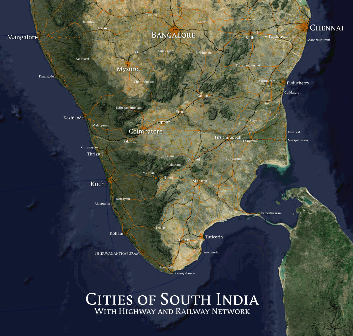 South India Map Images Map of Urban Areas in South