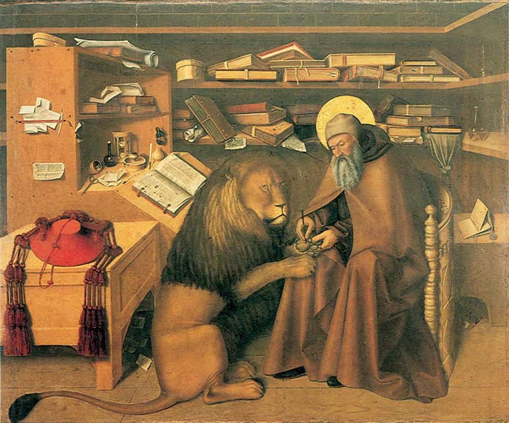 San Gerónimo en su estudio, Niccolò Colantonio. Museo Nazionale di Capodimonte (Nápoles)