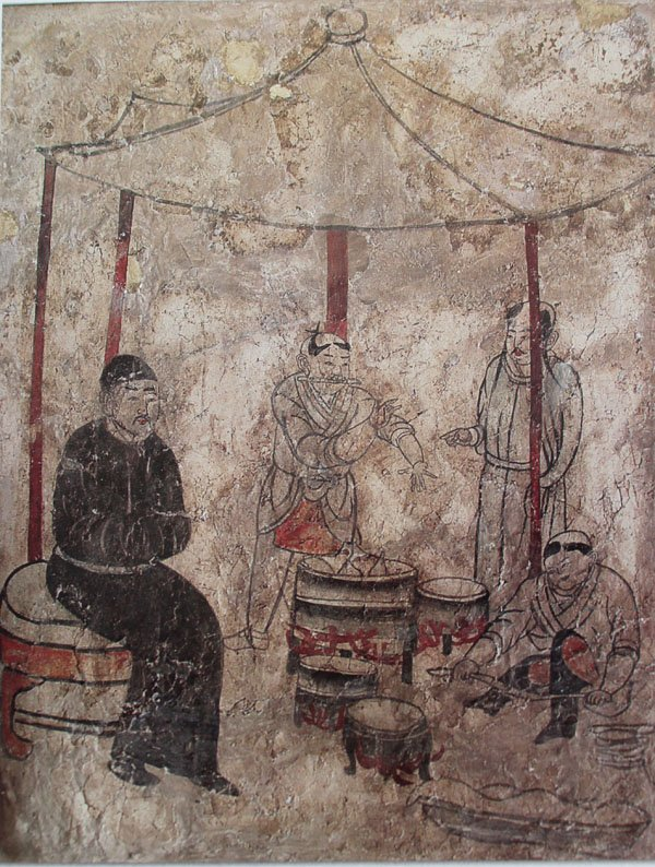 Cooking, mural from Tomb in Aohan, Liao Dynasty.jpg