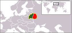 Western Belorussia in 1939 shown in dark green
