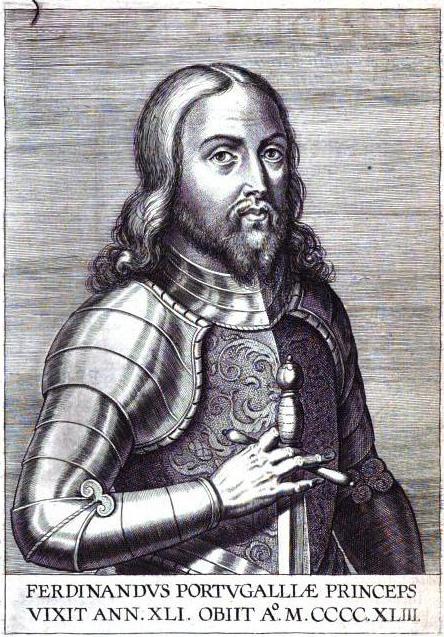 Portrett fra 1621 av Ferdinand i rustning, fra Antonio Vasconcellos' Anacephalæoses id est Summa capita actorum regum Lusitaniæ