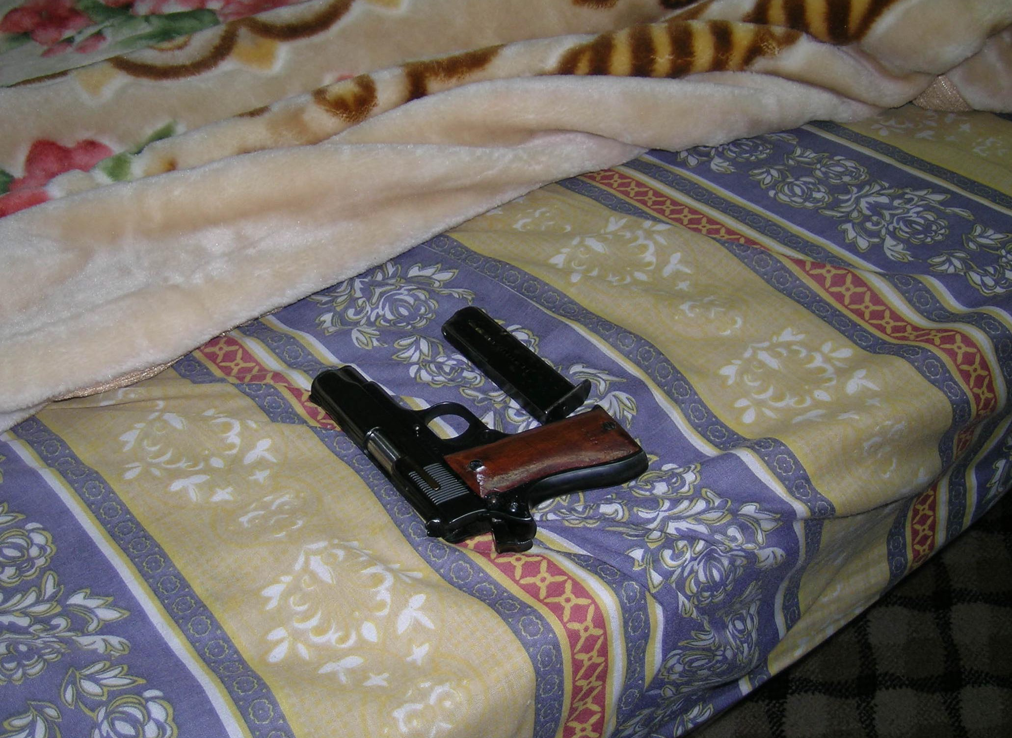 Defense Forces Gun and Magazine Hidden Under Bed in Nablus jpg