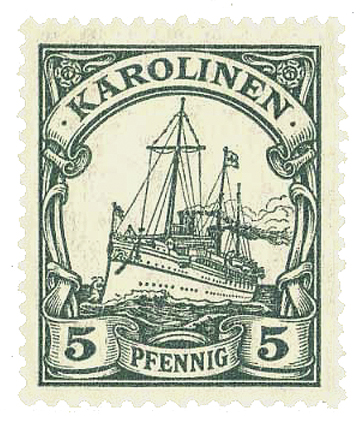 Datei:German Caroline Islands Stamp-1900 Yacht issue.jpg