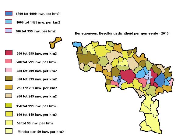 Provincie Henegouwen: Bevolkingsdichtheid per gemeente - 2015