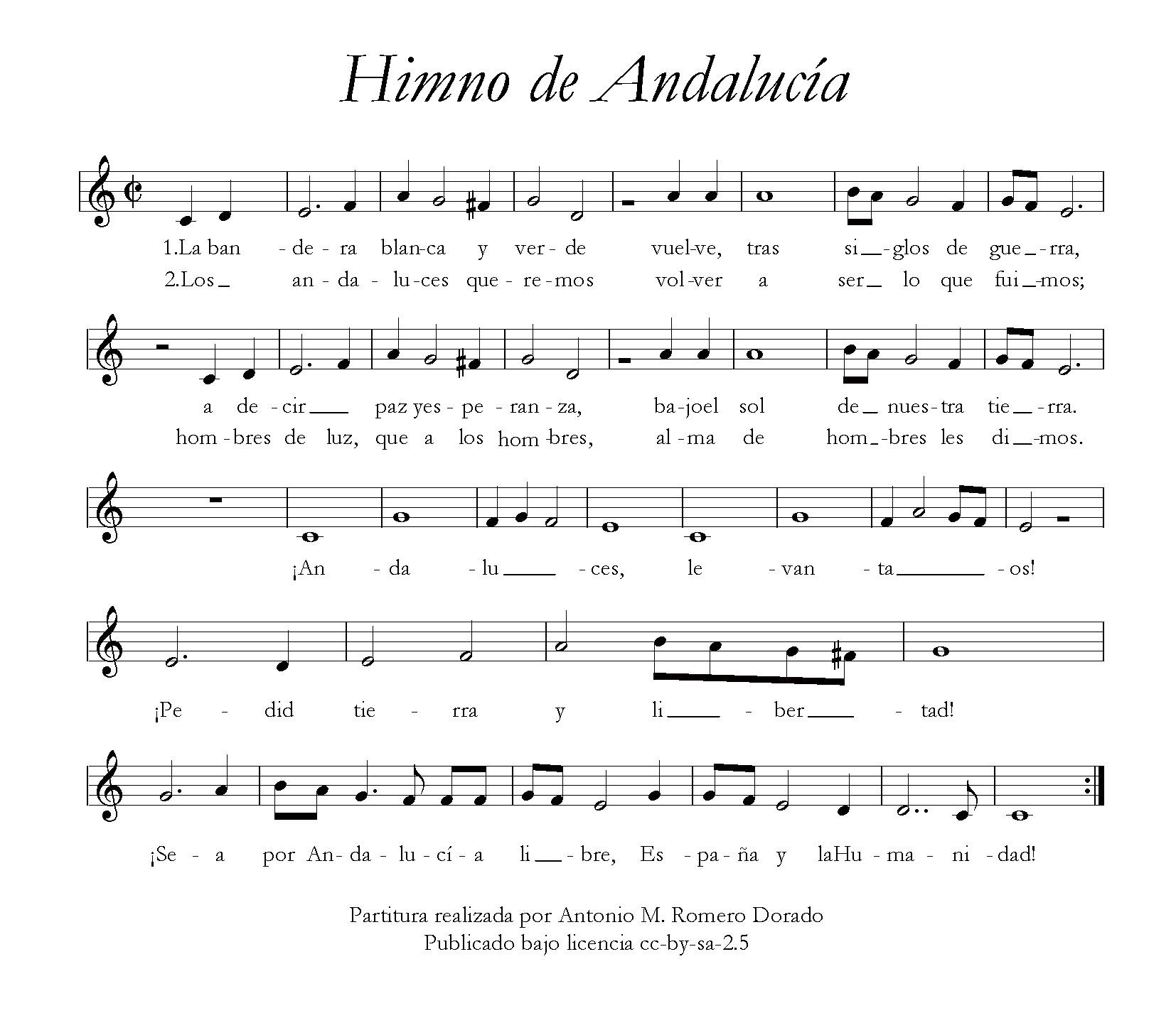 Partitura del himno de Andalucía (Wikipedia)