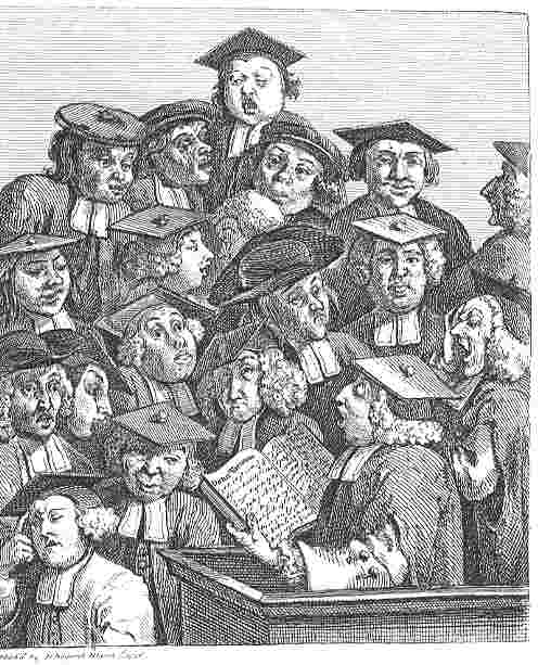 "A 1736 engraving, by William Hogarth, titled ""Scholars at a Lecture"". Students are creammed into a lecture room, discordantly moving about and making various faces, and taking notes."