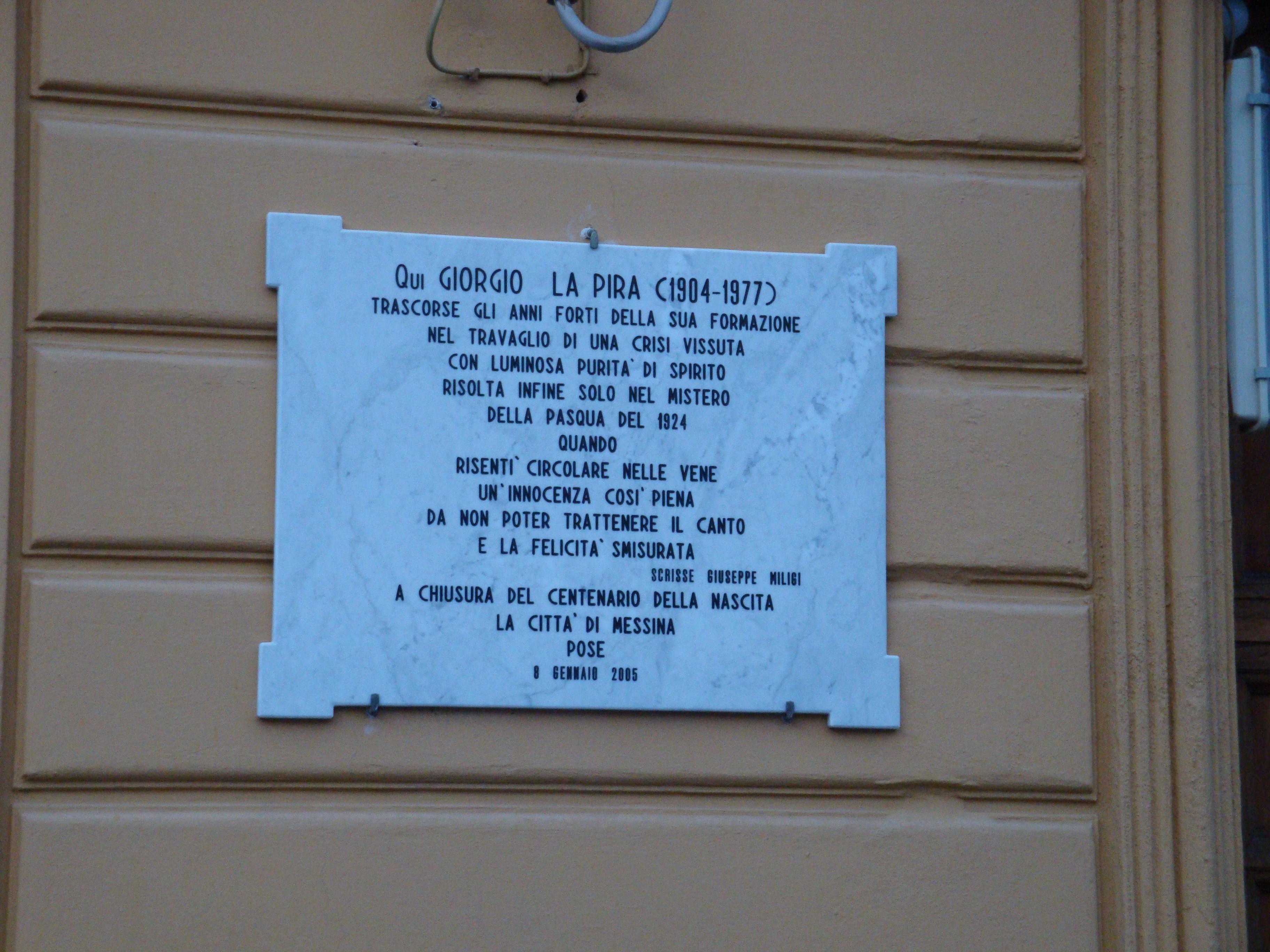 Filelapide Sulla Facciata Casa Di Giorgio La Pirajpg Wikipedia