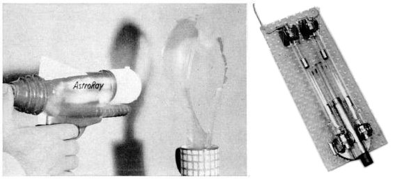 Ruby laser pistol constructed by Stanford Univ. physics professor in 1964 to demonstrate the laser to his classes. The plastic body recycled from a toy raygun contained a ruby rod between two flashtubes (right). The pulse of coherent red light was strong enough to pop blue balloons (shown at left) but not red balloons which reflected the light. Laser pistol.jpg