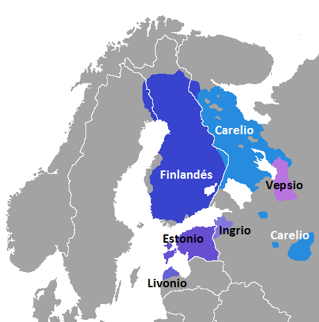 Répartition géographique des différentes langues fenniques.