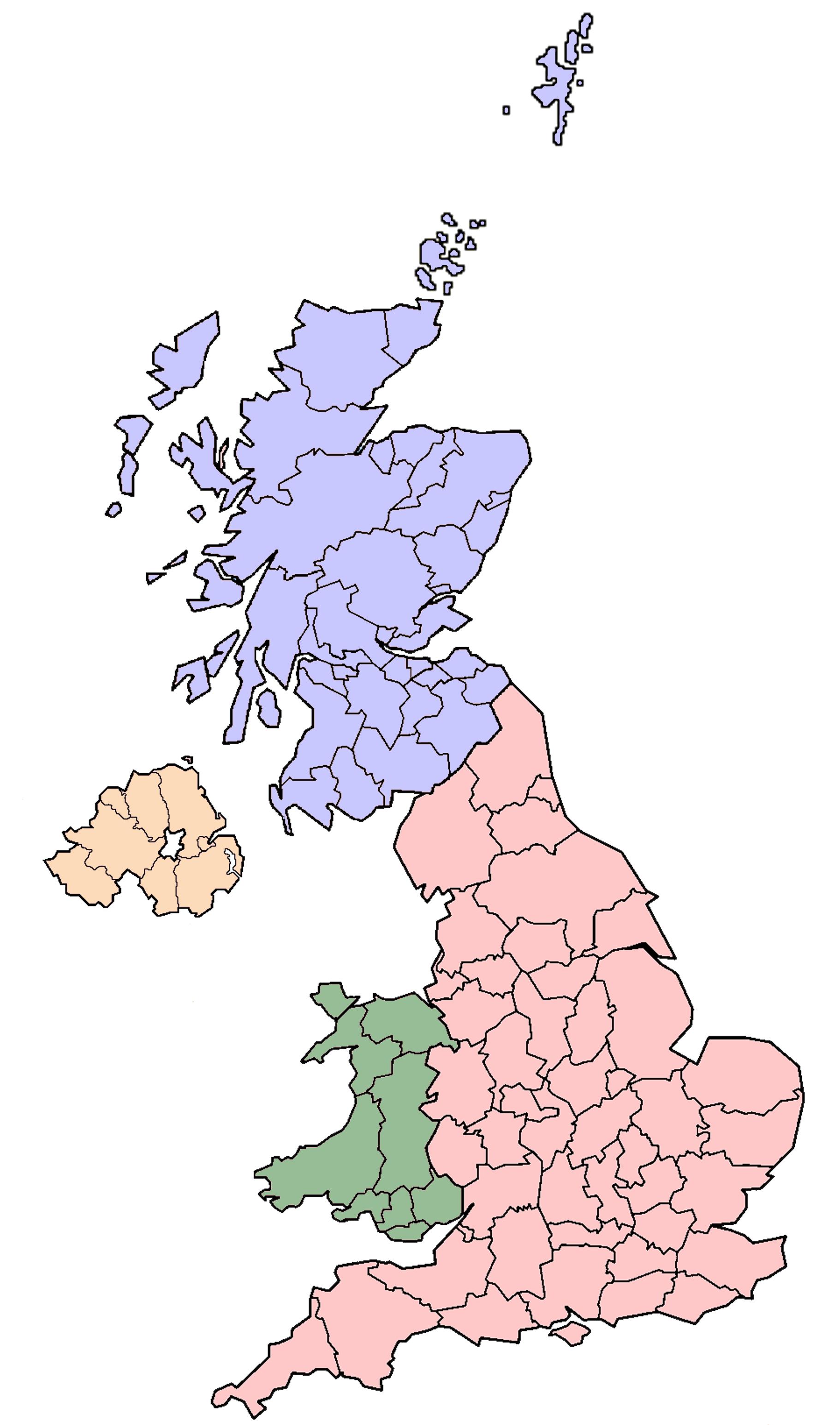 Resultado de imagen de MAP OF UK COUNTRIES WITHOUT NAMES