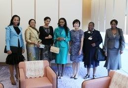 Some of his wives meeting the wife of the Japanese prime minister  in 2013
