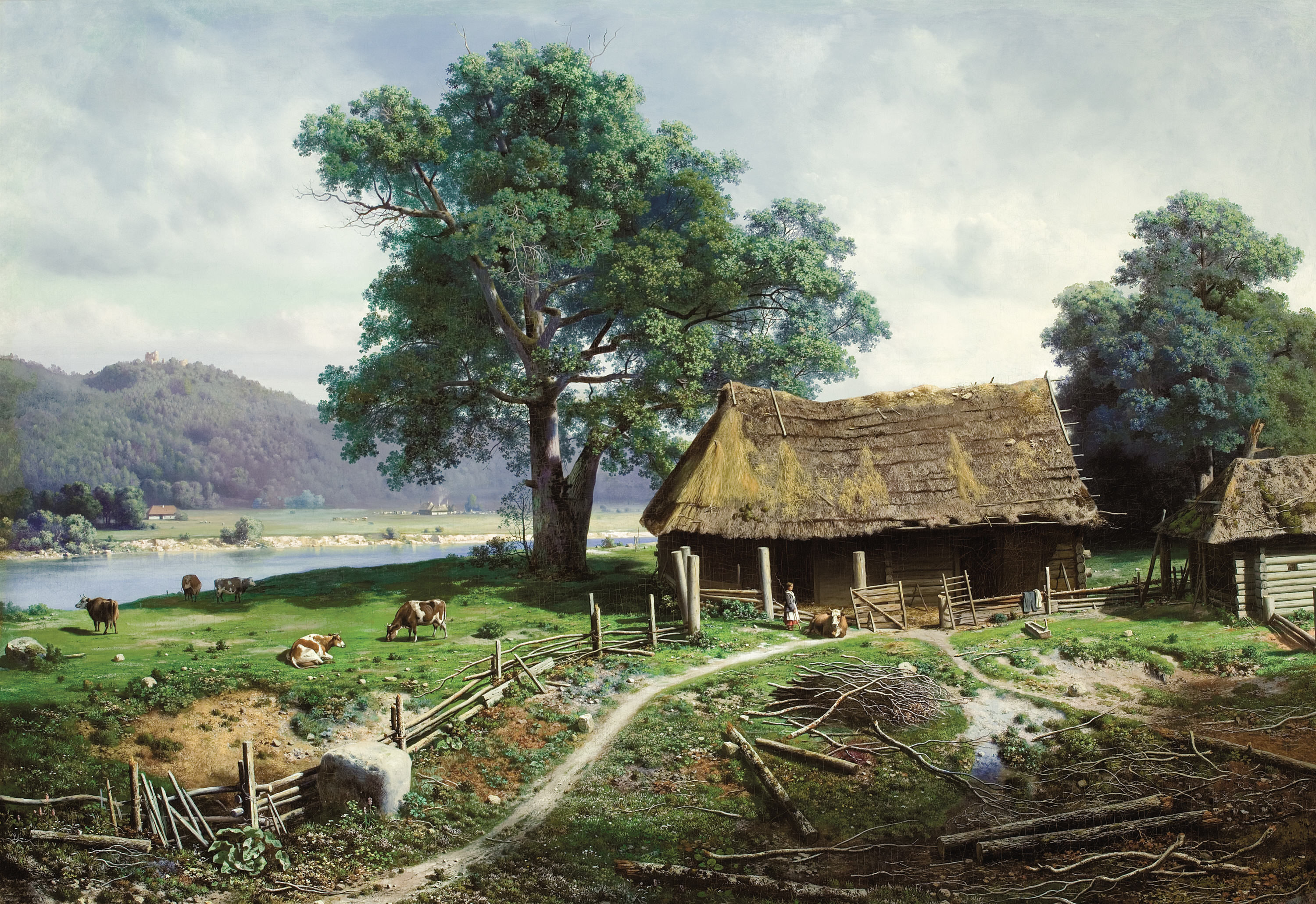 File mikhail clodt riverside wikimedia commons - Serene traditional cottage in natural theme ...