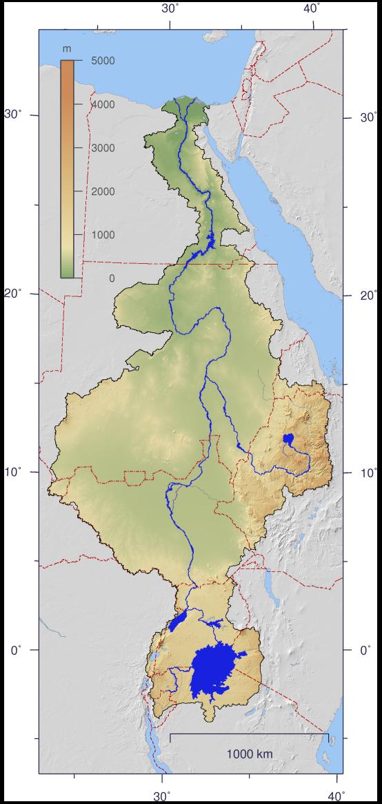 ナイル水系流域図