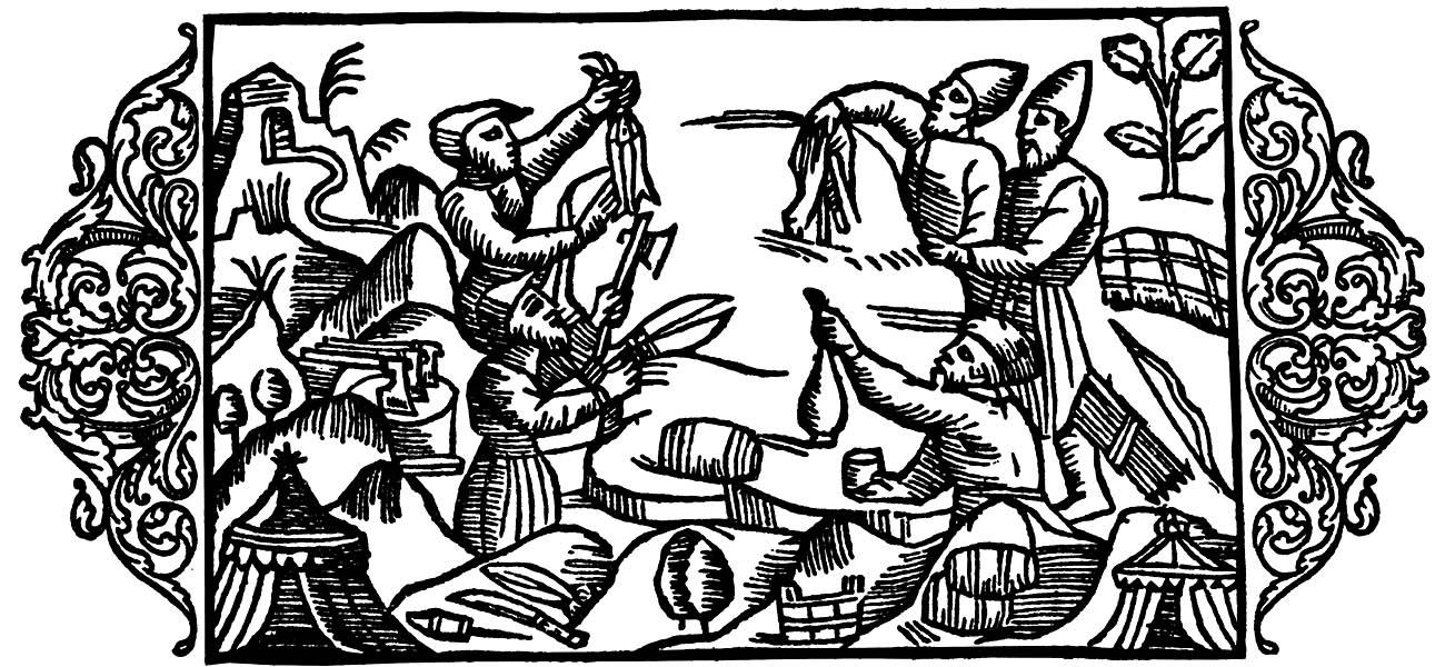 Keskiaikainen Olaus Magnuksen kroniikka kuvaa kauppaa kuivatulla hauella.