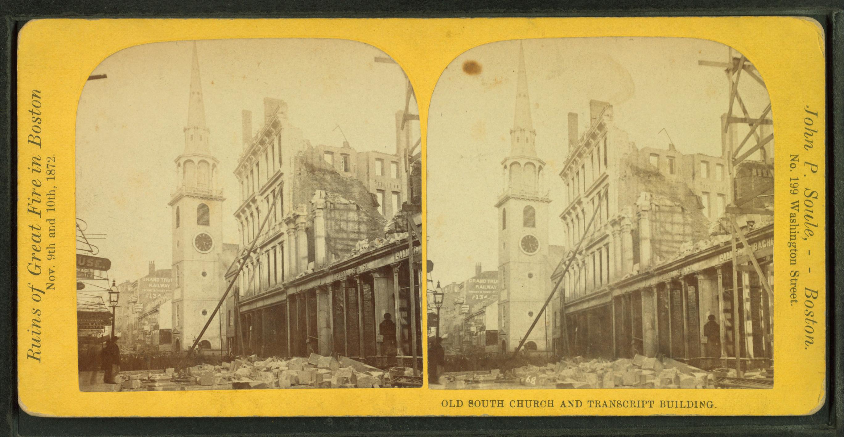 HISTORIC BOSTON FIRE FROM WASHINGTON STREET SOUTH CHURCH TRANSCRIPT BUILDING
