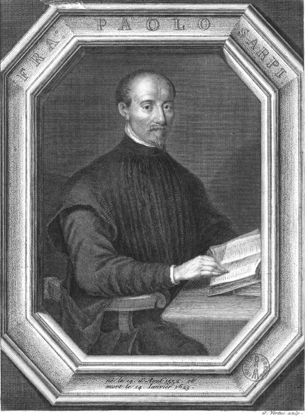 Engraving of Fra Paolo Sarpi by [[George Vertue