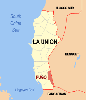 Map of La Union showing the location of Pugo