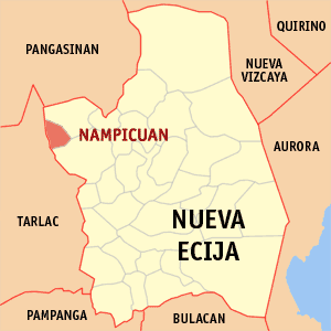 Map of Nueva Ecija showing the location of Nampicuan