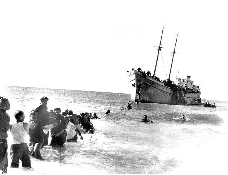 """הגעת הספינה """"האומות המאוחדות"""" לנהריה"""