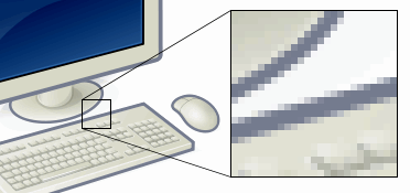 This example shows an image with a portion greatly enlarged, in which the individual pixels are rendered as little squares and can easily be seen.