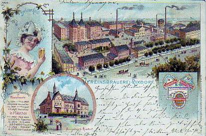 Postcard Berlin Rixdorf Litho Brauerei Berliner Kindl Bier 1899