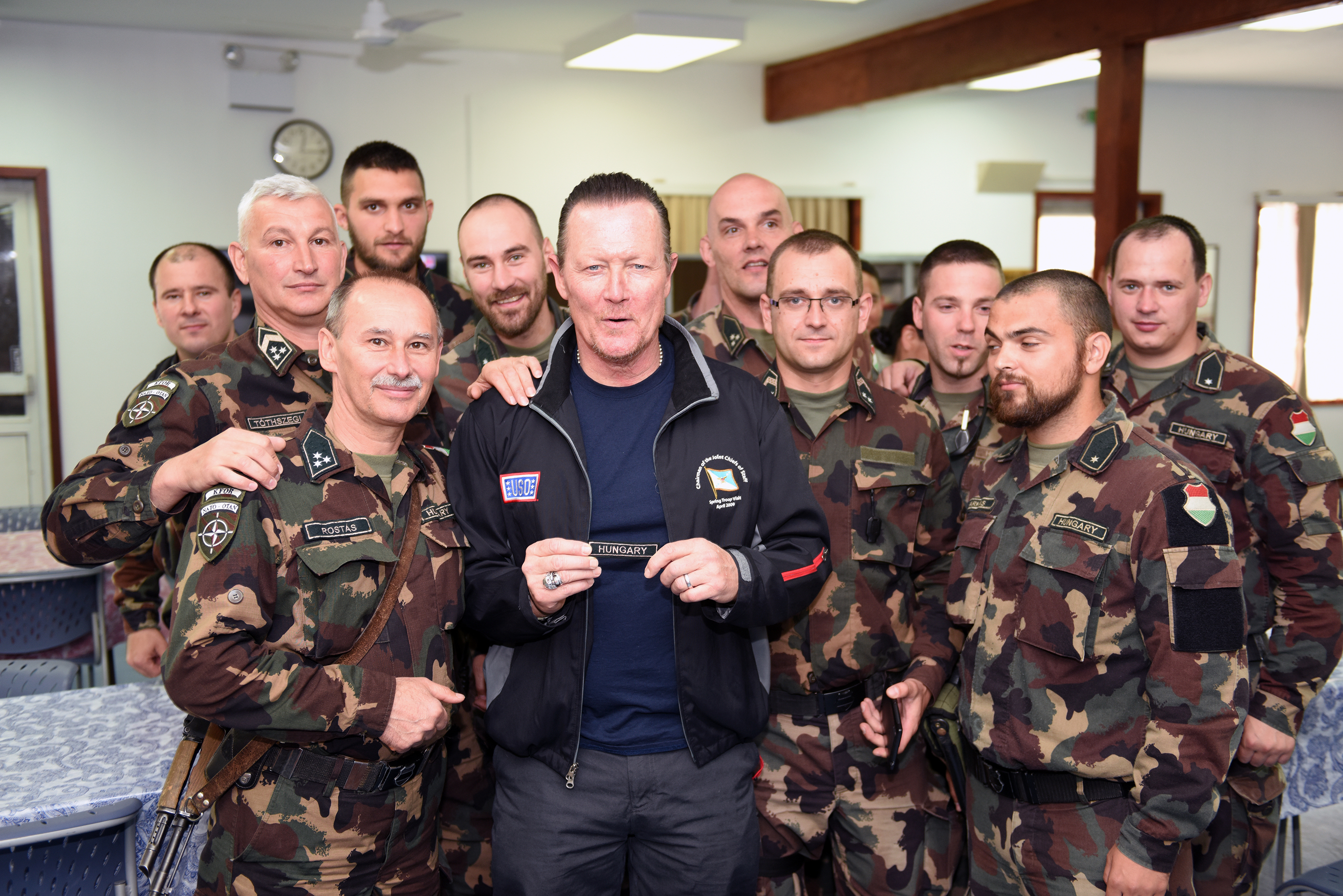 File:Robert Patrick with troops from international partner