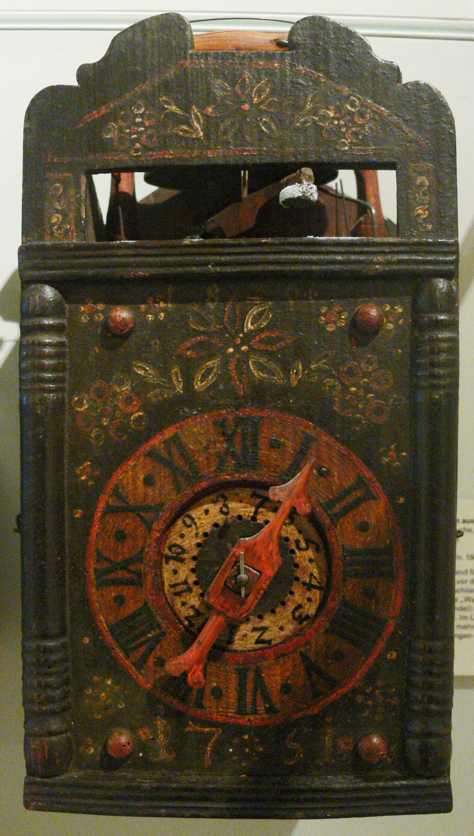 Black Forest Cuckoo clock from 1751. Landesmuseum Württemberg by Wikimedia