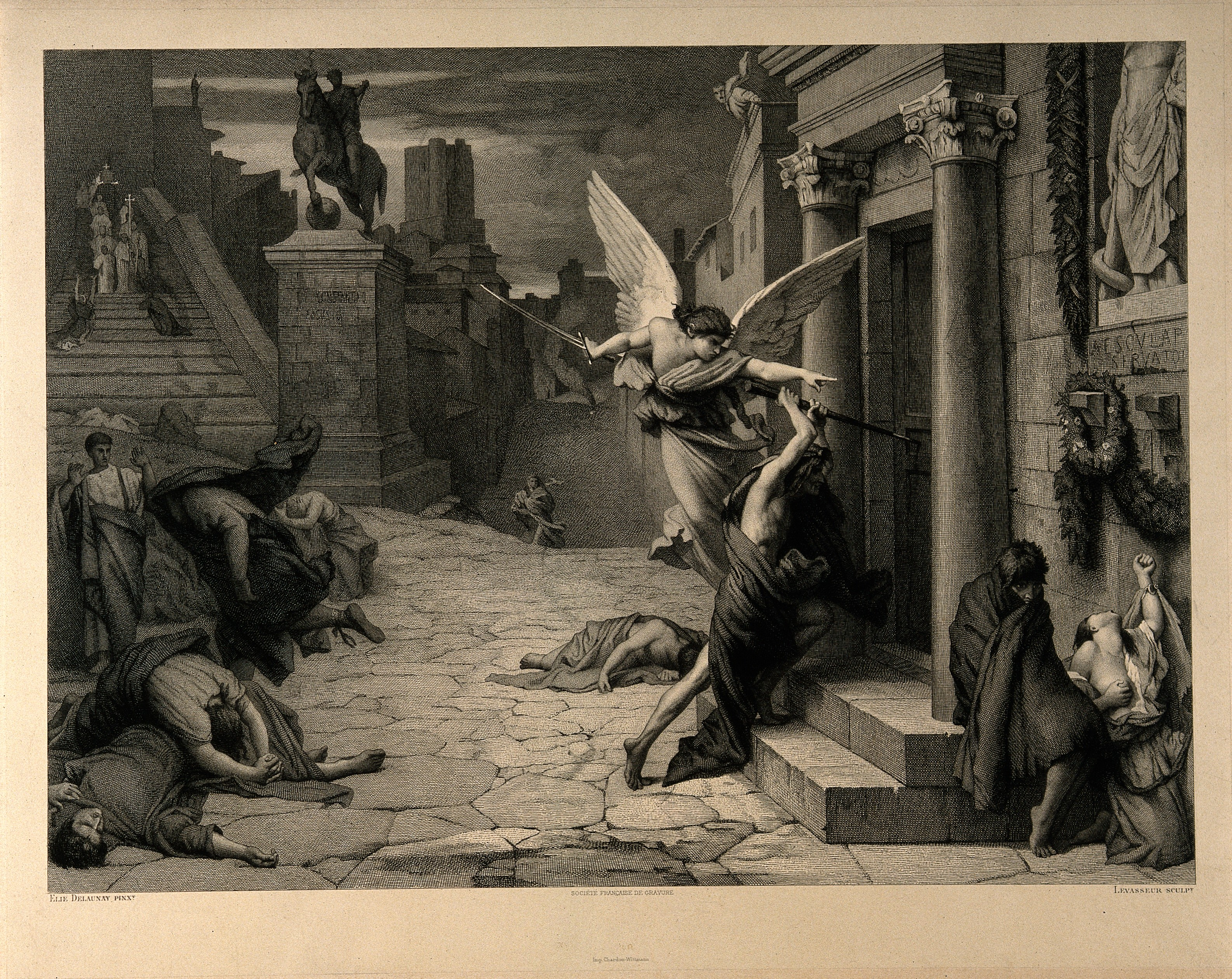 The angel of death striking a door during the plague of Rome; engraving by Levasseur after Jules-Elie Delaunay