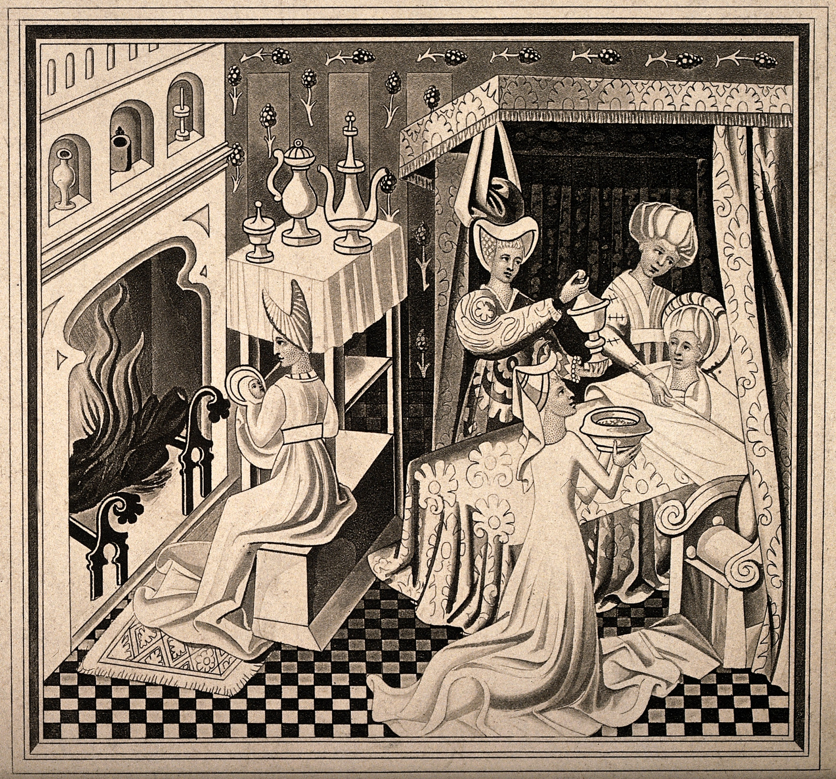 Midwife assisted child birth. Images from the History of Medicine ...
