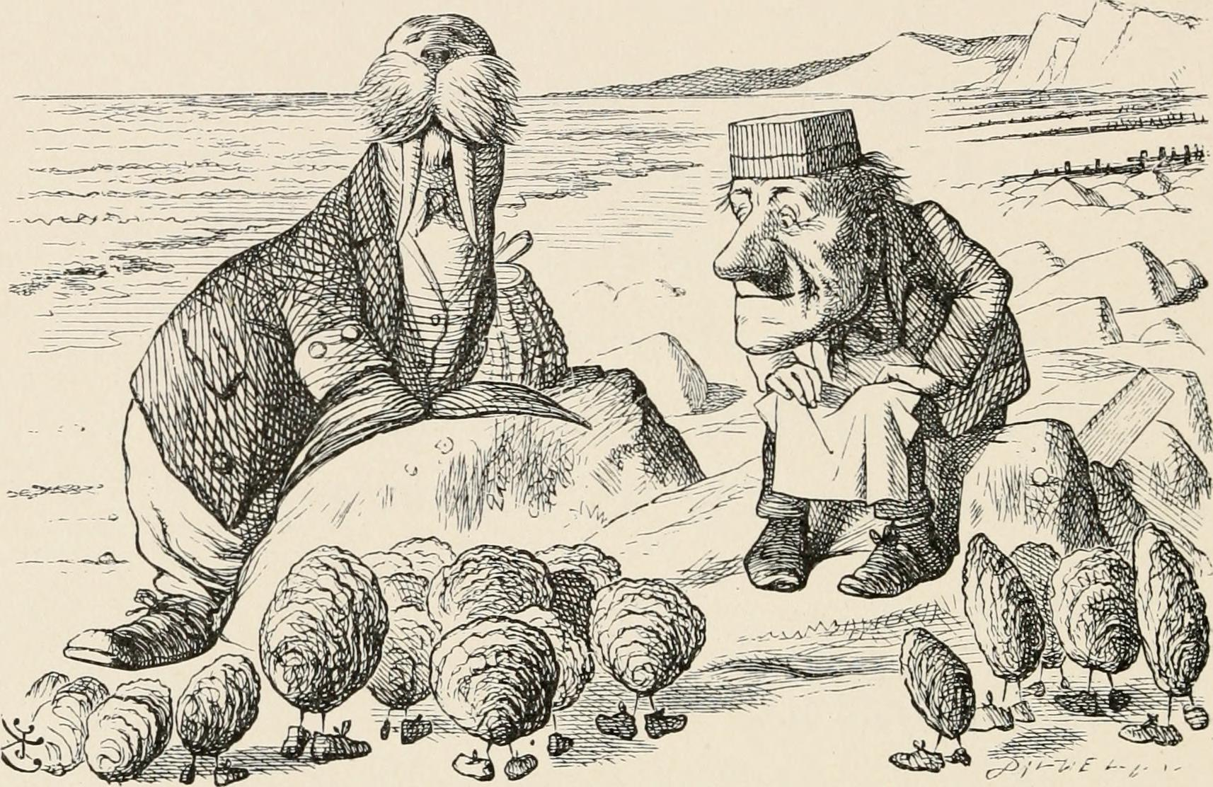 Sir John Tenniel's illustration of the Walrus and the Carpenter for Lewis Carroll's classic 'Through the looking glass and what Alice found there'