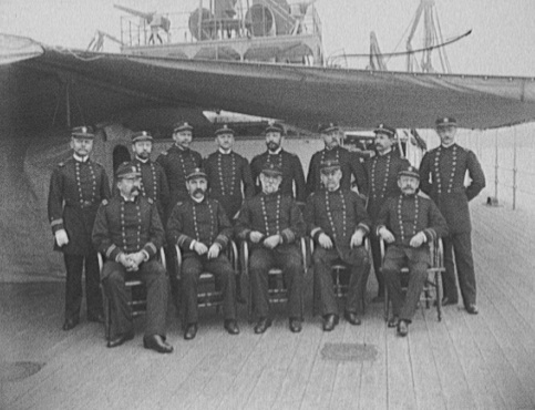 Captain Sicard and the officers of the USS Miantonomoh