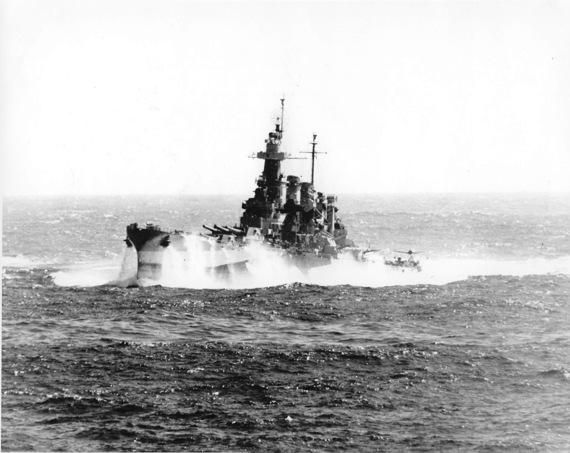 The Battleship Uss North Carolina Battles Heavy Seas In