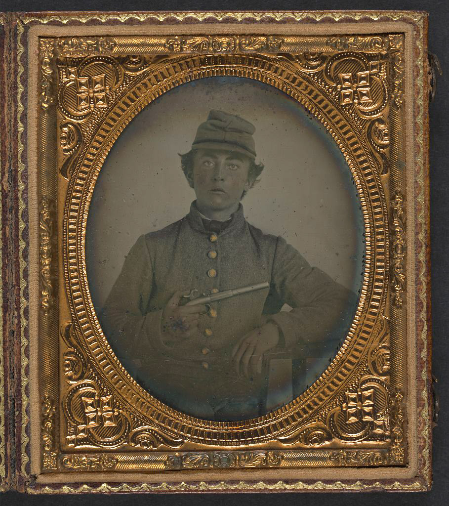 File:Unidentified young soldier in Confederate shell jacket and